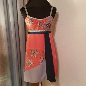 Ecote orange red patchwork detailed unique dress